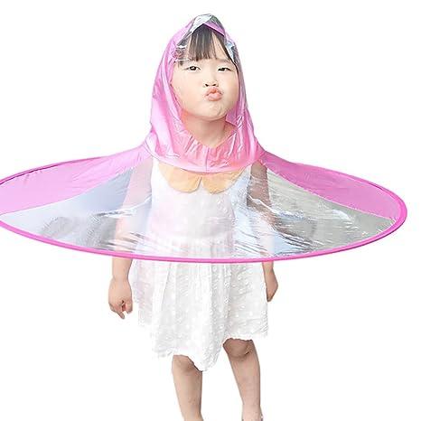 TAOtTAO Adorable Novedad Plegable UFO Chubasquero niños Sombrero Sombrero Paraguas Manos Libres Chubasquero para niños Rosa