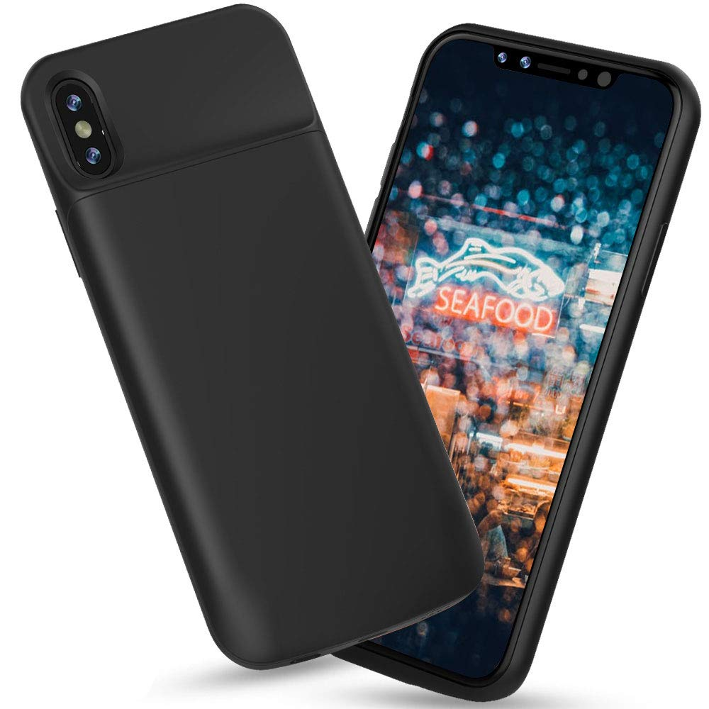 Battery Case Compatible with iPhone X/XS/10, Highwings 6000mAh Charging Charger Case Slim, Portable Protective Battery Case iPhone X/XS/10 Compatible(5.8inch), Extended Battery Pack Case Power Bank-Black