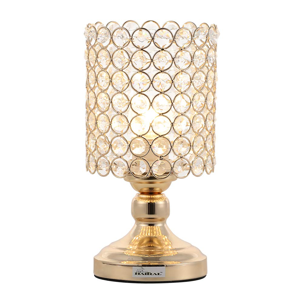 HAITRAL Mini Table Lamp Crystal Lamps Modern Night Light Lamp with Metal Frame for Bedroom, Gold Color Metal Lamps for Night Table