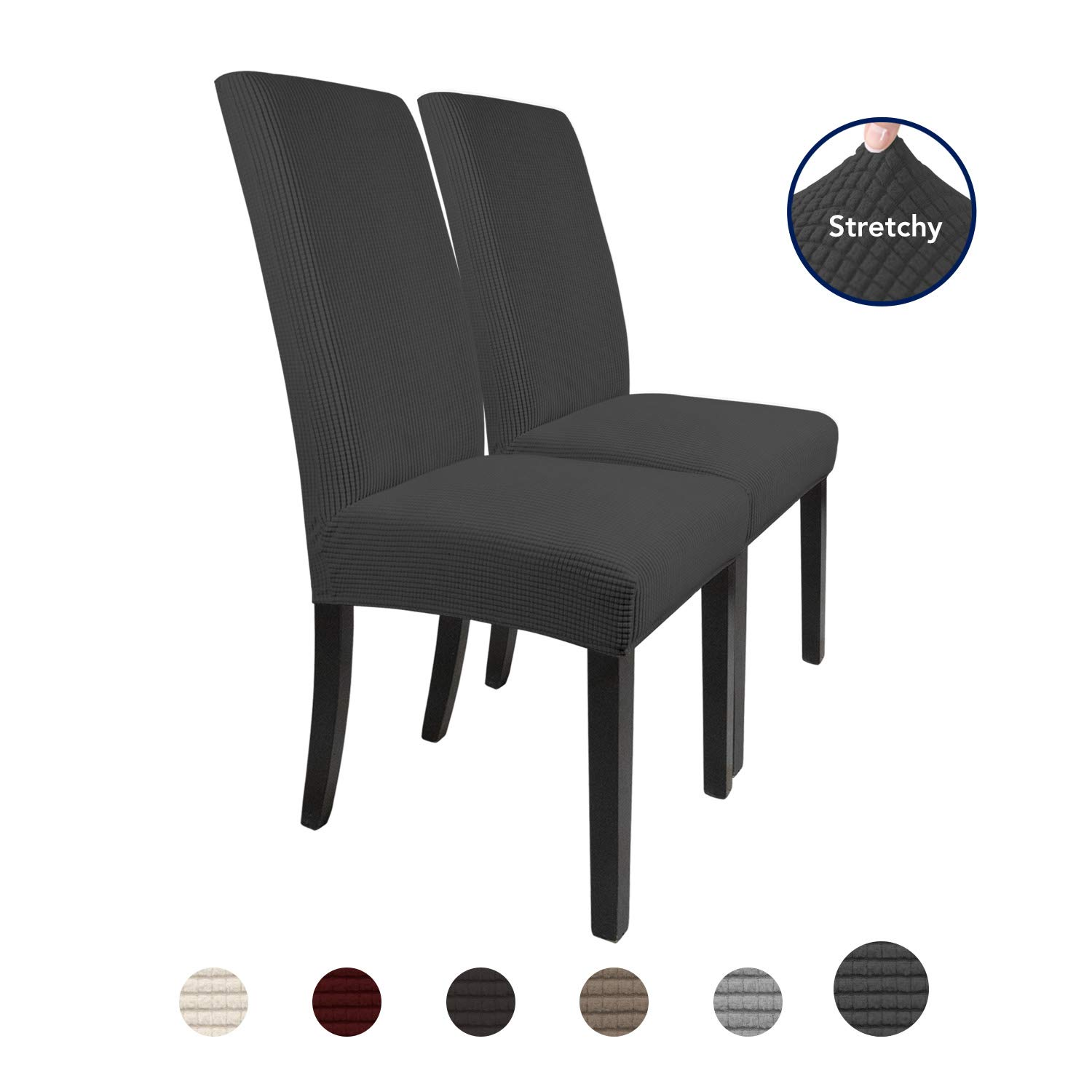 PureFit 2 Pieces Stretch Dinner Chair Covers – Spandex Jacquard Soft Fitted Dinning Chair Slipcover, Washable Furniture Protector with Anti-Skid Elastic Bottom for Dining Room