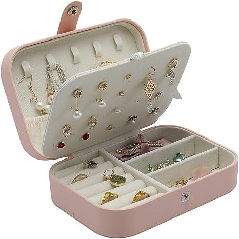 FORRICA Caja Joyero Mujer Caja de Joyer/ía Organizador de Joyas Estuche de Joyas Cuero con Cerradura y Espejo Estuche de Viaje para Anillos Pulseras Collares Pendientes Caja de Joyas