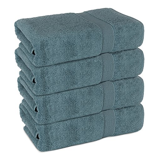 - Superior 4 Pack Long-Stable Turkish Bath Towel Set, 700 GSM Cotton Terry Makes The Luxe-Factor (Slate Blue)