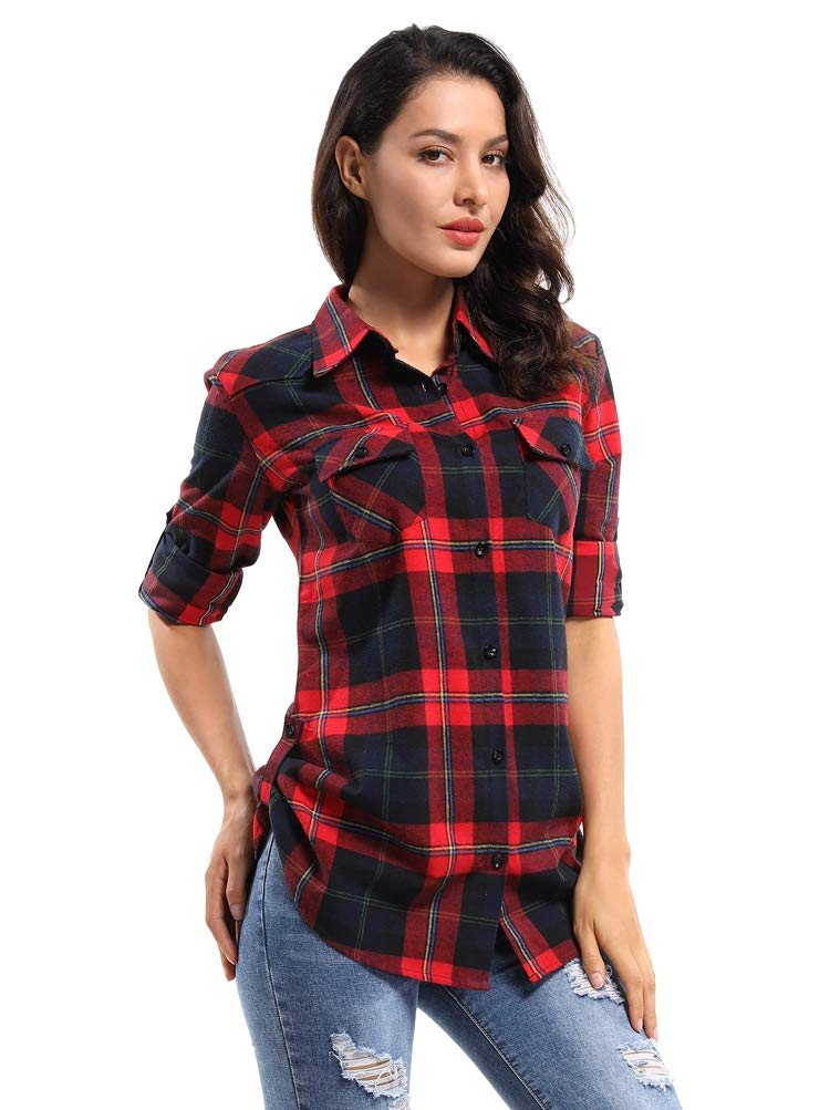 OCHENTA Women's Mid Long Style Roll Up Sleeve Plaid Shirt M029 Red Navy XS