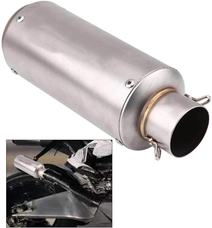 Qiilu Universal Motorcycle Exhaust Muffler,Silver Stainless Steel Tail Pipe For Motorbike Autocycle