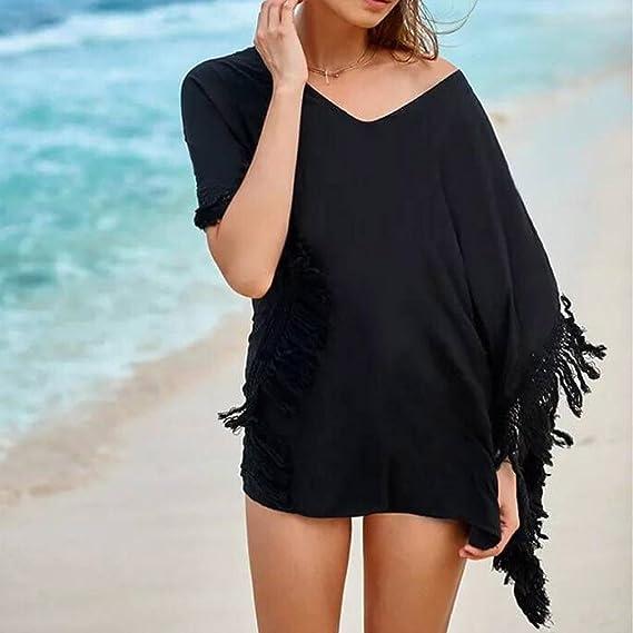 YJYda - Bañador para mujer con cuello de borla y bikini para playa, casual , XL, Negro: Amazon.es: Deportes y aire libre
