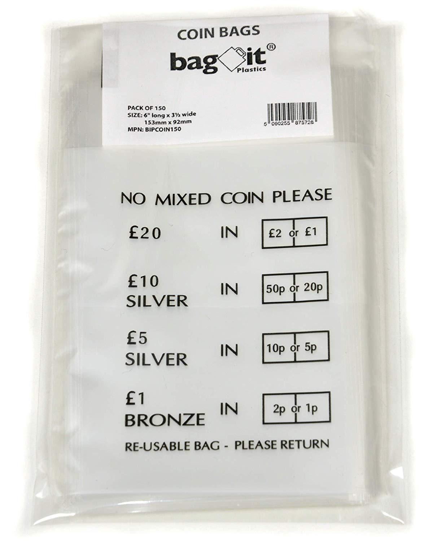 Bag it Plastics No Mixed Coin Plastic Money / Bank Bags - Pack of