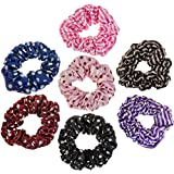 Hairstyling Accessories and Decorations Set / Kit / Lot of 7pcs Hair Scrunchies / Rubber Bands / Hairbands / Bobbles / Elastics / Ponytails Holders / Ties In Different Colours