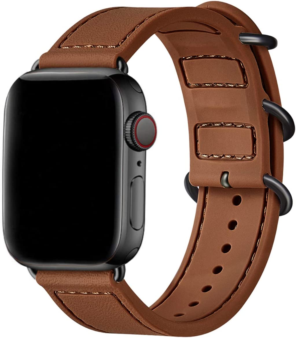 BesBand Compatible with Apple Watch Bands 44mm 42mm 40mm 38mm for Women Men,Soft Silicone Sport Strap Replacement Band for Apple Watch SE & iWatch Series 6/5/4/3/2/1 (Brown/Black, 42mm 44mm)