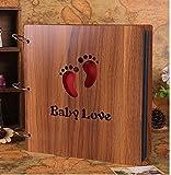 Luffar Wooden Cover DIY Photo Album 12 Inch Anniversary Scrapbook Handmade Vintage Photo Books with Photo Corner Sticker (Baby Love)