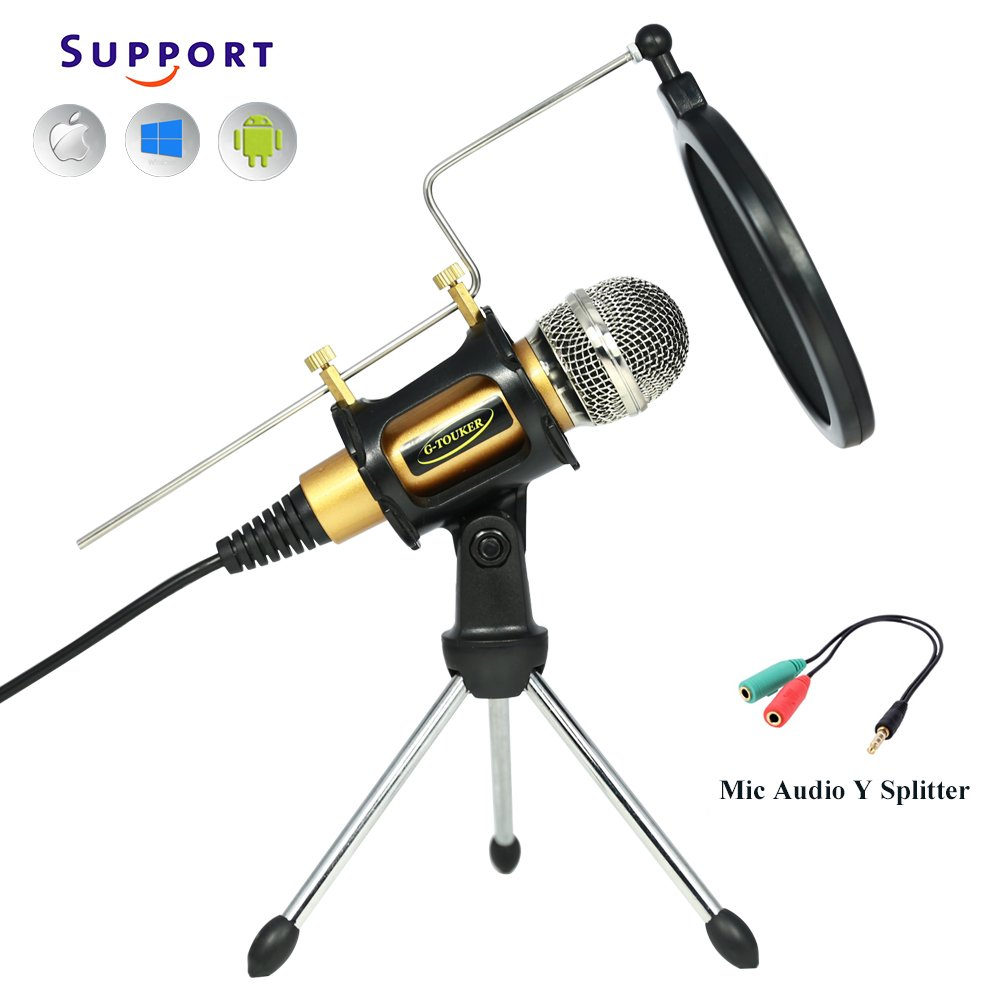 Professional Recroding Studio Microphone, 3.5mm microphone with stand, microphone for iphone andrioid mobile phone,ipads,tablet,pc,laptop computer. mic recording music, video, gaming, vocals (MC6G) by TKGOU