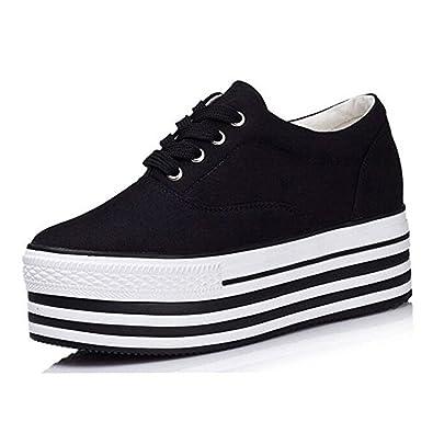 da029a165b74 PP FASHION Formal Wedges Women s Low Top Lace Up Platform Shoes Hidden Heel  Canvas Sneakers Black