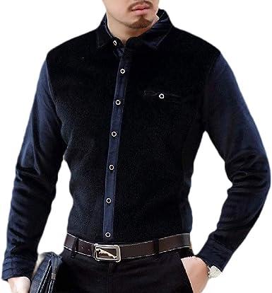 Camisa de Vestir de Manga Larga con Botones de Terciopelo para Hombre: Amazon.es: Ropa y accesorios