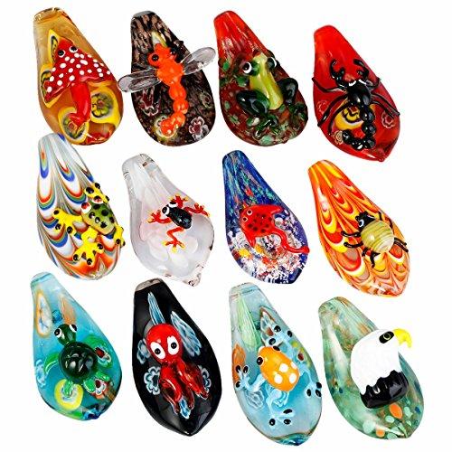 TUMBEELLUWA Glass Necklace Lampwork Glass Drop Pendant Assorted Random Color, -