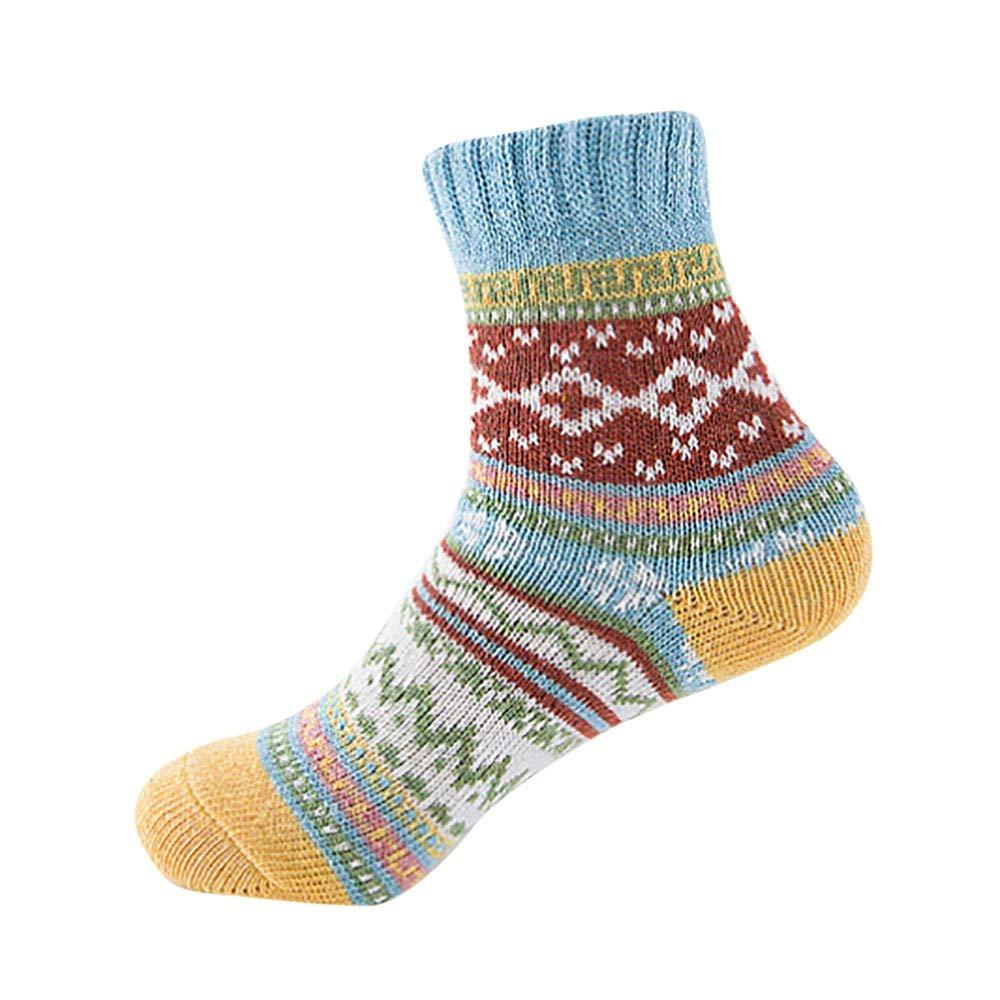 Pumsun Womens Vintage Winter Soft Warm Thick Cold Knit Wool Crew Socks Geometry Print (Blue)