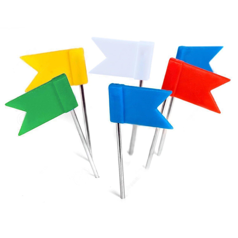 Yalis 100 Pieces 5 Assorted Colors Map Flag Push Pins, Map Mark, Cork Board Tacks- 35 mm Pushpins-009