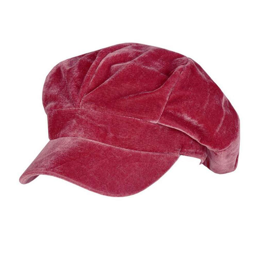 Annlaite Women's Velvet Beret Cap Winter Warm 8 Panel Newsboy Hat Cabbie Hat Size 22