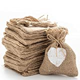 handrong 20pcs Burlap Bags Gift Pouches Heart Small Candy Jewelry Storage Package Sack for Wedding Bridal Shower Birthday Party Christmas Valentine's Day Favors DIY Craft, Natural 4.5x3.7 inch