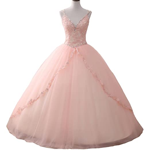 Yuxin Beaded Lace Princess Quinceanera Dresses V Neck Pink Ball Gown