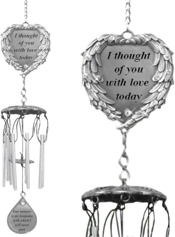 BANBERRY DESIGNS Memorial Windchimes - I Thought of You with Love Today Poem Engraved on This Wind Chime - Angel Wings Wrapped Around a Heart and Teardrop Charm - in Loving Memory Chimes