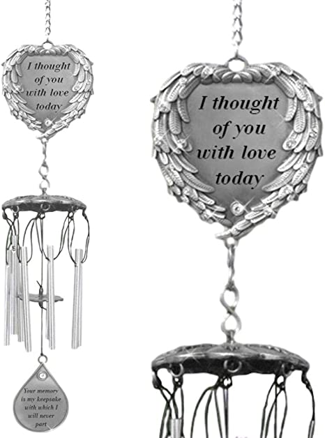Banberry Designs Memorial Windchimes I Thought Of You With Love Today Poem Engraved On This Wind Chime Angel Wings Wrapped Around A Heart And Teardrop Charm In Loving Memory Chimes Garden Outdoor Amazon Com