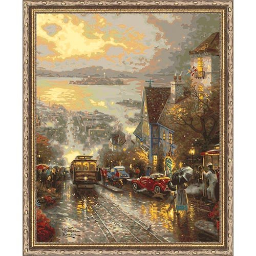 Plaid Creates Paint by Number Kit (16 by 20-Inch), 21794 Hyde Street and The San Francisco Bay by Thomas Kinkade