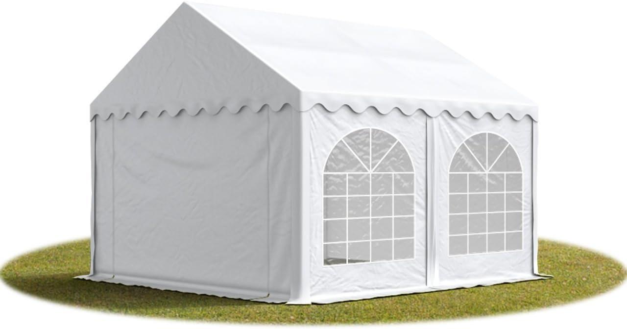 TOOLPORT Carpa de Fiesta 3x4 m Lona PVC Aprox. 500g/m² 100% Impermeable con Estructura de Suelo Blanco: Amazon.es: Jardín