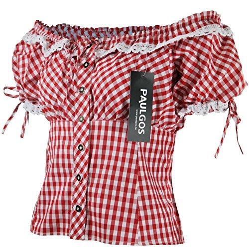 PAULGOS Damen Trachtenbluse Carmenbluse Trachten Bluse Rot Blau Weiss Kariert, Größe Artikel:38;Farbe:Rot