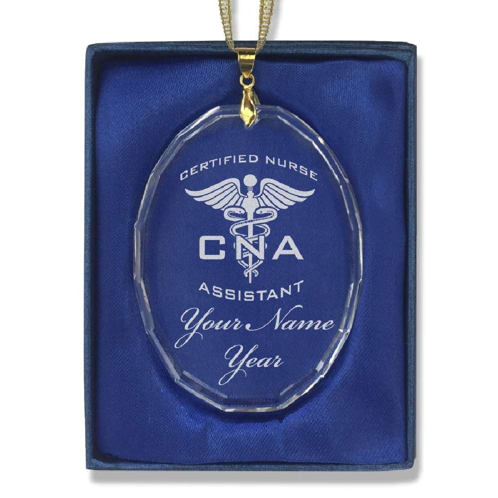 Oval Crystal Christmas Ornament - CNA Certified Nurse Assistant - Personalized Engraving Included