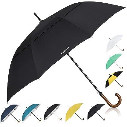 b9d5feebd ZEKAR 54 inch Wooden J Handle Golf Umbrella, Classic Double Canopy Windproof  Large Auto Open