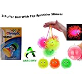 ARSDEWY 3 Pcs. LED Puffer Ball Soft Toy with Tap Sprinkler Shower (with Color Led Light)