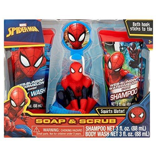 Marvel Spiderman Soap & Scrub Shampoo and Body Wash Bath Set