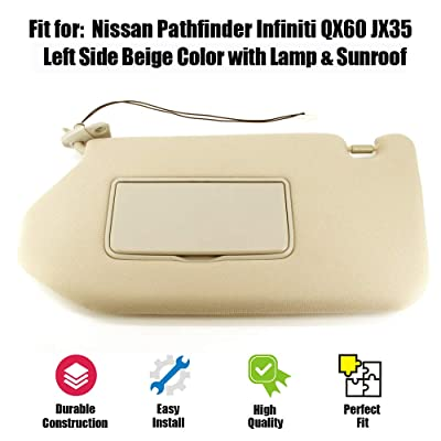ustar Sun Visor with Lamp Fit for 13-18 Nissan Pathfinder 14-17 Infiniti QX60 13 Infiniti JX35 with Sunroof Rep 96401-9PB0A (Beige, Driver's Side): Automotive