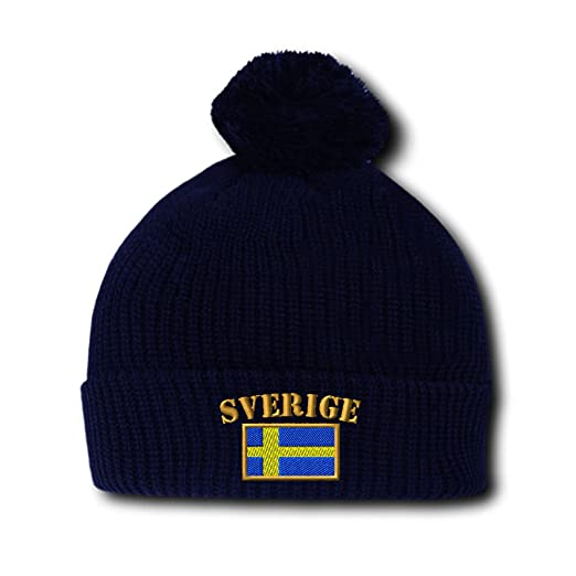 b13415063e2 Sweden Sverige Flag Embroidery Embroidered Pom Pom Beanie Skully Hat Cap  Navy