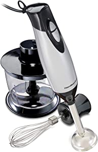 Hamilton Beach 59765 Immersion Hand Blender with Blending Wand, Whisk and 3-Cup Food Chopping Bowl, 3-Piece, Silver and Stainless Steel