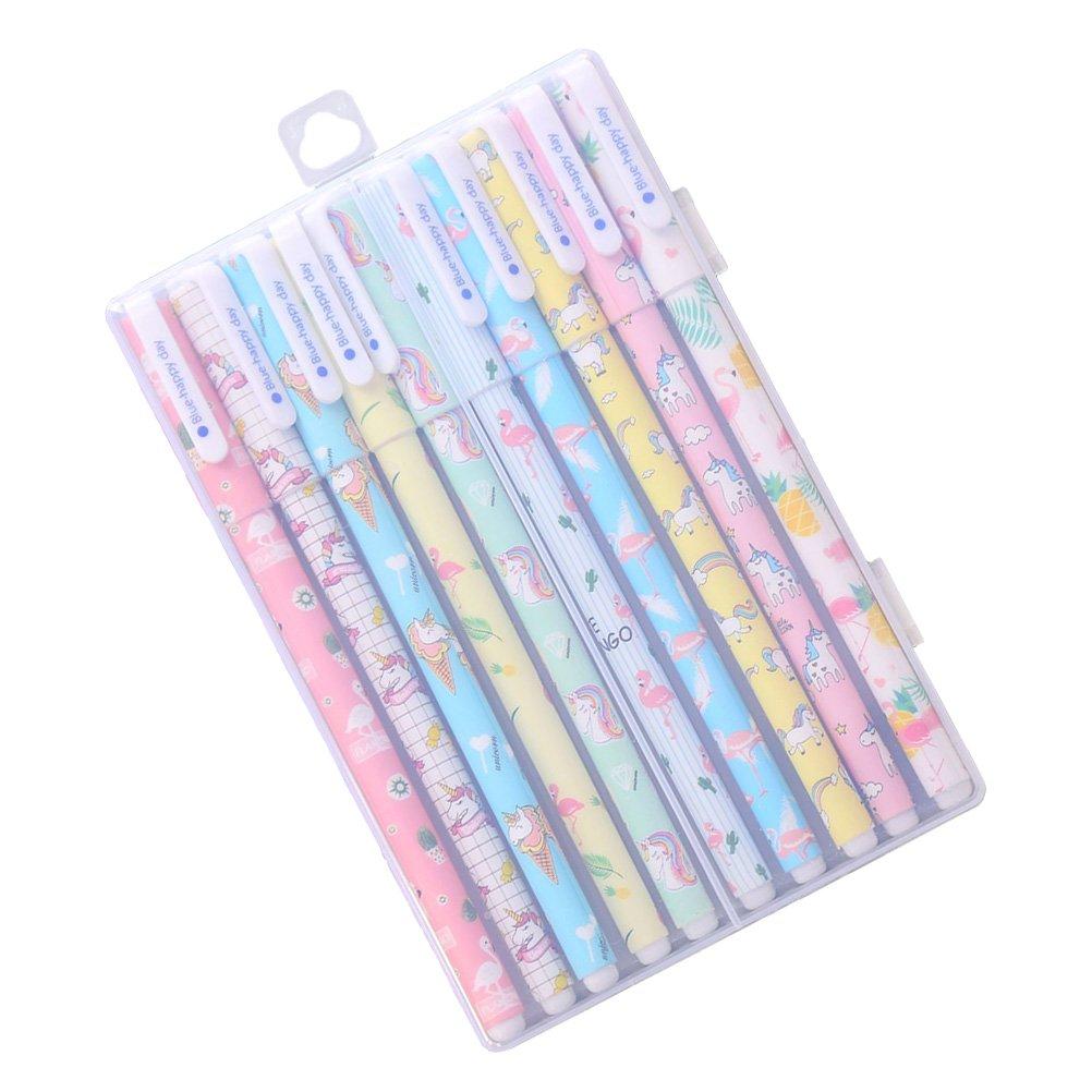 TOYMYTOY, 10 penne gel con unicorno e fenicottero, punta fine da 0,5 mm, 10 colori, graziosi articoli di cancelleria, regalo ideale per bambini