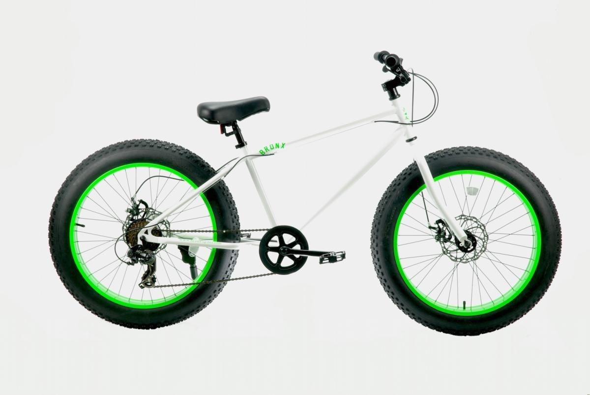 【MODEL】 24inch-BRONX-DD FAT-BIKES湘南鵠沼海岸発信 外装7段変速付 24inchファットバイク B01C2GA1NUホワイト×ライム