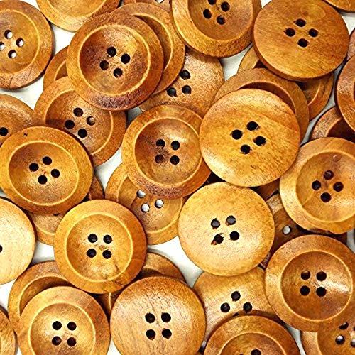 SALAKA 50PCS 25mm Bot/ón de Madera de Color caf/é 4 Agujeros Bot/ón de Madera Redondo para Coser Ropa de Bricolaje