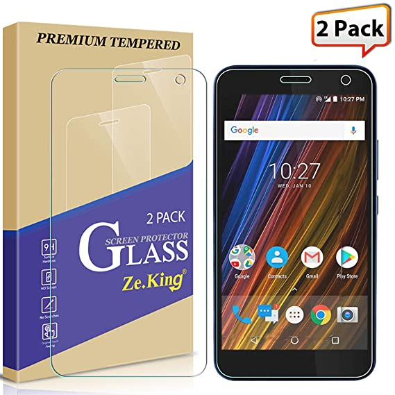 [2-Pack] Alcatel Tetra 5041C (2018) Screen Protector Tempered Glass, Zeking  0 33mm 2 5D Edge 9H Hardness [Anti Scratch][Anti-Fingerprint] Bubble Free,