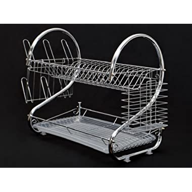 Cherry Queen Chrome Kitchen Dish Cup Drying Rack Drainer Dryer Tray Cutlery Holder Organizer