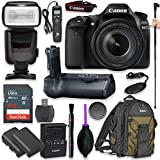 Canon EOS 80D Digital SLR Kit with EF-S 18-135mm f/3.5-5.6 Image Stabilization Nano USM Lens (Black) with Pro Battery Grip, Professional TTL Flash, Backpack 200EG, Spare LP-E6 Battery (17 items)