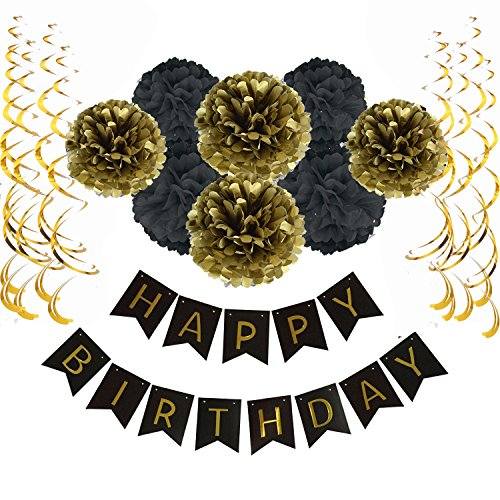 Sopeace Happy Birthday Banner Bunting with 8 Tissue Paper Pom Poms Flowers and 15 Hanging Swirl Decorations for Birthday Party Decorations - Purple (Black & Gold) (Purple And Black Birthday Party)