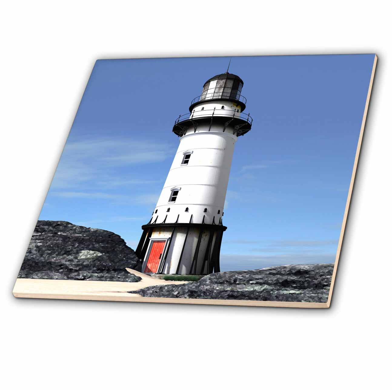 3dRose ct/_5717/_1 Light House Ceramic Tile 4-Inch