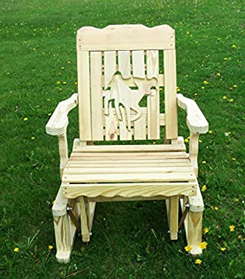 Pressure Treated Pine Designs Unfinished Outdoor Doe Cutout Glider Chair