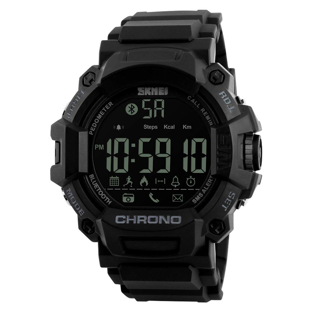 L- Men's Smart Sports Watch, Waterproof Digital Electronic Casual Army Wrist Band with Luminous Alarm Stopwatch Boy Watch Precise