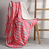 1 piece Girls 50x70 Ivory Pink Dream Catcher Throw Blanket, Black Colorful Feathered Bedding Sofa Native American Indie Spirit Southwest Bohemian Dream Catcher Indian, Reversible Sherpa Polyester