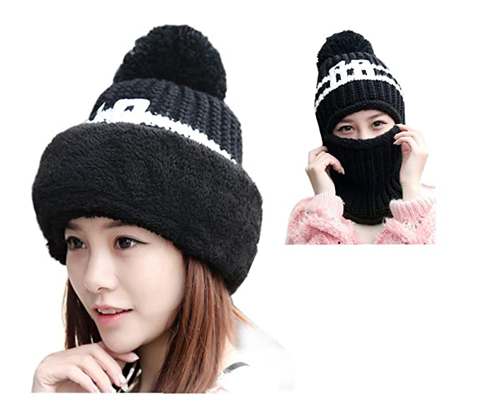 4M5I6A Multifunction Women Winter Hat Earflap Hood Scarves Stretch Cable  Knit Beanie Skull Caps (Black a8c01ed1efdc