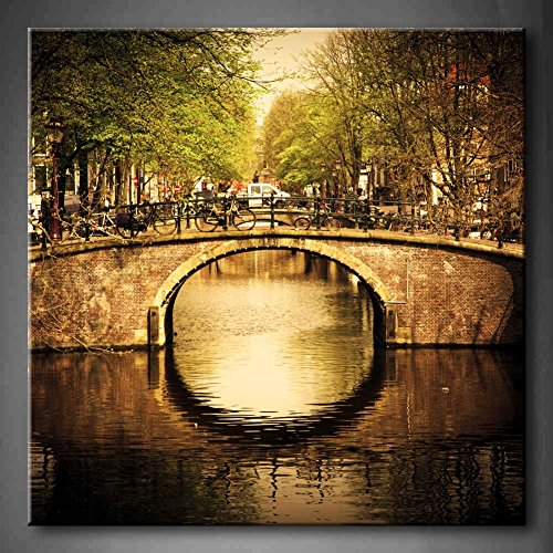 First Wall Art - Amsterdam Holland Romantic Bridge Over Canal Old Town Tree River Vehicle Wall Art Painting Pictures Print On Canvas Architecture The Picture For Home Modern Decoration (Stretched - On Canal Shops