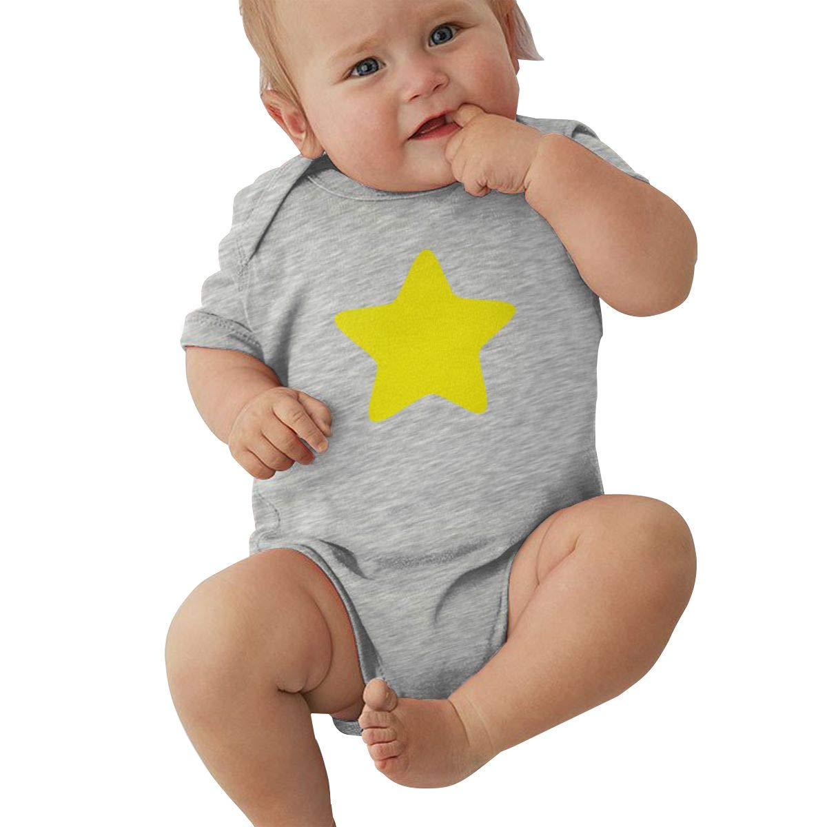 Dfenere Yellow Star Logo Retro Newborn Baby Short Sleeve Bodysuit Romper Infant Summer Clothing Black