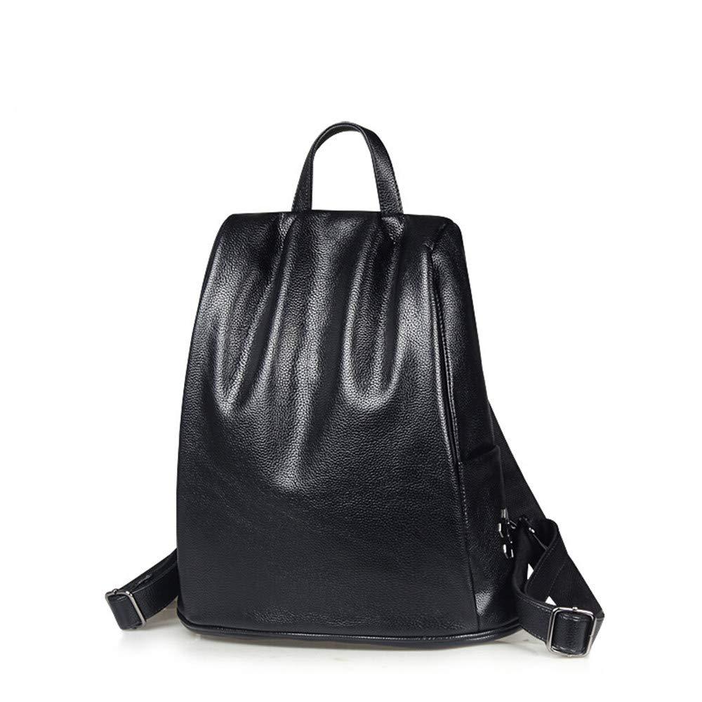 多目的デイパック、バックパックファッションレザーレディースカジュアル大容量レザー盗難防止レディースバックパック旅行バッグ ブラック B07L77M49J