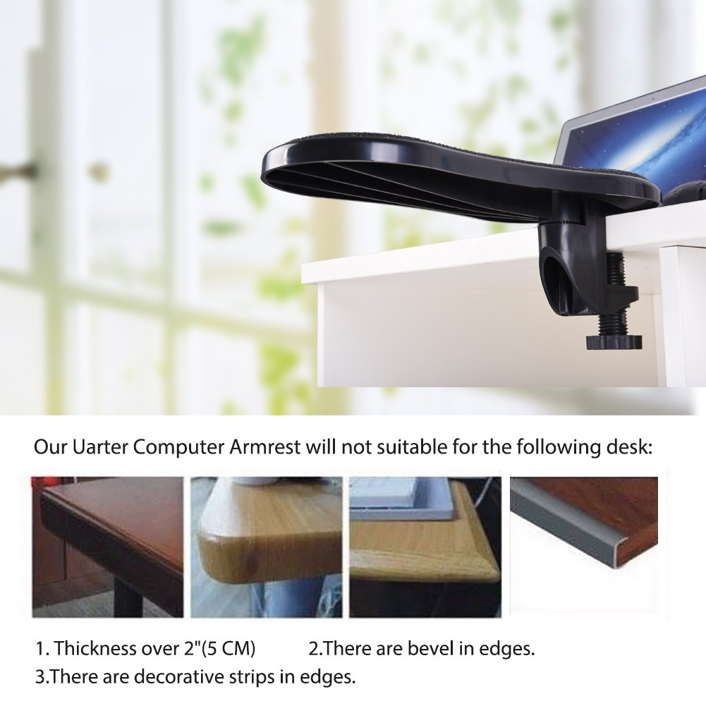 PRETTY SEE Computer Arm Rest Support for Desk and Chair, Sturdy Mouse Arm Rest, Desk Extender for Computer, for Home& Office by Pretty See